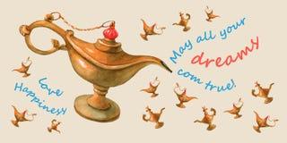 Entregue a ilustração da aquarela da lâmpada dos gênios de Aladdin mágico Empalideça - o fundo amarelo, cartão Foto de Stock Royalty Free
