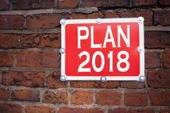 Entregue a inspiração do subtítulo do texto da escrita que mostra o plano de ação 2018 da estratégia do significado do conceito d Imagens de Stock