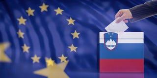 Entregue a introdução de um envelope em uma urna de voto da bandeira de Eslovênia no fundo da bandeira da União Europeia ilustraç Foto de Stock Royalty Free