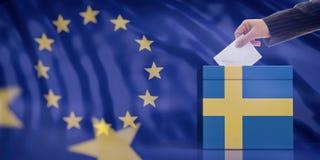 Entregue a introdução de um envelope em uma urna de voto da bandeira da Suécia no fundo da bandeira da União Europeia ilustração  Fotos de Stock
