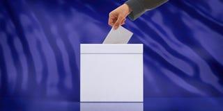 Entregue a introdução de um envelope em uma urna de voto vazia branca no fundo abstrato azul, copie o espaço ilustração 3D Fotos de Stock