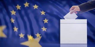 Entregue a introdução de um envelope em uma urna de voto vazia branca no fundo da bandeira da União Europeia, copie o espaço ilus Fotografia de Stock