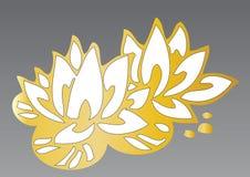 Entregue lótus desenhados das flores Fotos de Stock