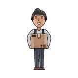 Entregue la historieta del mensajero stock de ilustración