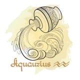 Entregue a linha arte tirada de Aquário decorativo do sinal do zodíaco Fotografia de Stock Royalty Free