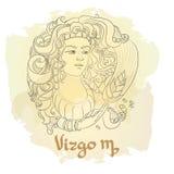 Entregue a linha arte tirada de Virgem decorativa do sinal do zodíaco Fotografia de Stock