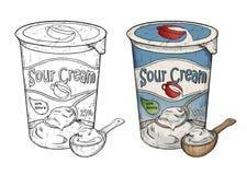 Entregue a linha tirada ilustração da arte do creme de leite com colher de madeira Fotos de Stock Royalty Free