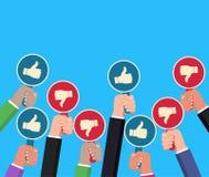 Entregue manter a batida e os polegares remam para baixo Conceito do feedback Entrega sinais de aumentação com inscrição como Vet ilustração royalty free