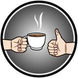 Entregue manter uma xícara de café e os polegares da mão Imagens de Stock