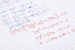 Entregue matemáticas escritas Fotografia de Stock Royalty Free