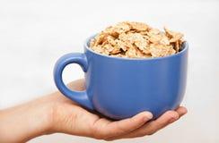 Entregue a menina com uma bacia de cereal à disposicão Fotos de Stock Royalty Free
