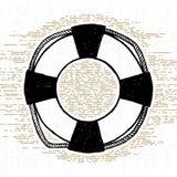 Entregue o ícone textured tirado com ilustração do vetor da boia de vida Fotografia de Stock