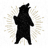 Entregue o ícone tribal tirado com uma ilustração textured do vetor do urso pardo ilustração royalty free