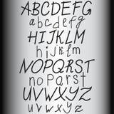 Entregue o alfabeto tirado, letras do ABS, vetor Fotografia de Stock