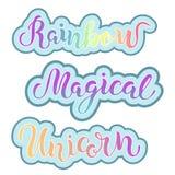Entregue o arco-íris tirado, mágico, rotulação do unicórnio ilustração do vetor