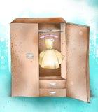 Entregue o armário do desenho, roupa, wardrobe com vestido Fotografia de Stock