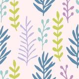 Entregue o campo de grama tirado, teste padrão sem emenda violeta dos ramos azul pastel, verde, Teste padrão floral Imagens de Stock