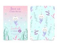 Entregue o cartão bonito tirado com sereia, caticorn, calamar, coral e mar h Foto de Stock Royalty Free