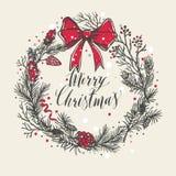 Entregue o cartão de Natal desenhado Árvores do ano novo com confetes Foto de Stock Royalty Free