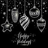Entregue o cartão de Natal desenhado Árvores do ano novo com neve Foto de Stock Royalty Free