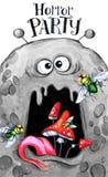 Entregue o cartão desenhado Cabeça da aquarela de um monstro com o fungo na boca Ilustração da celebração Partido do horror dos d ilustração stock