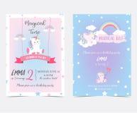 Entregue o cartão e a etiqueta azuis cor-de-rosa tirados com unicórnio do sono, arco-íris, s ilustração stock