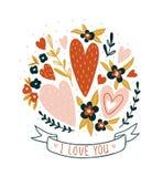 Entregue o cartão tirado do Valentim com flores e rotulação - ` do ` eu te amo Projeto da cópia floral do vetor Imagens de Stock