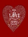 Entregue o cartão tirado na forma de um coração Fotografia de Stock Royalty Free