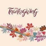 Entregue o cartaz tirado da tipografia do outono com as folhas coloridas bonitos no estilo liso fotografia de stock royalty free