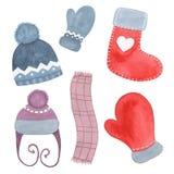 Entregue o chapéu, o lenço, a peúga tirada e o mitene da roupa do inverno da aquarela isolados Imagem de Stock Royalty Free
