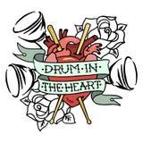 Entregue o cilindro tirado do ` da ilustração do vetor no ` do coração ilustração royalty free