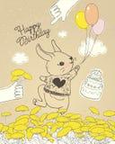Entregue o coelho tirado com os balões coloridos no prado floral Pode ser usado para o cartão da celebração da festa do bebê, fel ilustração do vetor