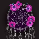 Entregue o coletor ideal ornamentado tirado com as flores roxas bonitas em um fundo preto Ilustração do vetor ilustração royalty free