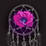 Entregue o coletor ideal ornamentado tirado com a flor roxa bonita em um fundo preto Ilustração do vetor ilustração do vetor