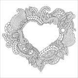 Entregue o coração ornamentado tirado para o anti esforço adulto ilustração do vetor