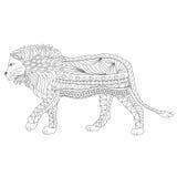 Entregue o corpo decorativo tirado do leão do esboço e dirija-o ilustração royalty free