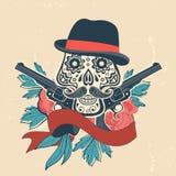 Entregue o crânio tirado com armas e flores no vintage Imagem de Stock