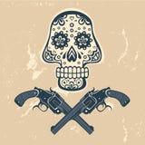 Entregue o crânio tirado com armas em um fundo sujo Fotografia de Stock