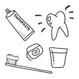 Entregue o dentífrico tirado dos cuidados dentários, ícone do vetor do símbolo dos dentes Fotos de Stock Royalty Free