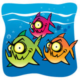 Entregue o desenho de um divertimento e de uma piranha engraçada dos desenhos animados Fotografia de Stock