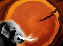 Entregue o desenho do elefante no fundo de madeira Imagem de Stock