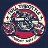 Entregue o desenho do homem que monta uma motocicleta clássica do piloto do café ilustração stock