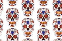 Entregue o dia mexicano tirado do teste padrão sem emenda inoperante Crânio colorido do açúcar do vetor Fotografia de Stock
