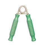 Entregue o equipamento do aperto para o exercício isolado no branco Fotos de Stock