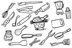 Entregue o esboço da tração do cozinheiro Ware, isolado no branco ilustração do vetor