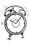 Entregue o esboço da tração do despertador preto iaolated no branco Imagem de Stock Royalty Free