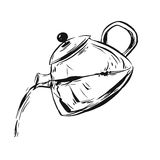 Entregue o esboço tirado da tinta do gráfico de vetor do bule isolado no fundo branco Projete o elemento para a loja, Web, negóci Foto de Stock Royalty Free