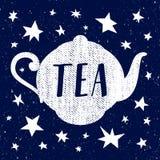 Entregue o esboço tirado do vetor do copo de chá com estrela Fotos de Stock