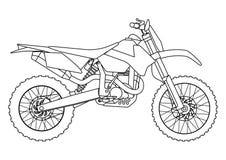 Entregue o estilo da tração de uma ilustração nova da motocicleta do vetor para o livro para colorir Imagens de Stock Royalty Free