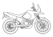 Entregue o estilo da tração de uma ilustração nova da motocicleta do vetor para o livro para colorir Fotos de Stock